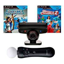 Kit Move Playstation 3 Ps3 Camera + Controle + 2 Jogos