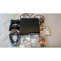 Playstation 3 (ps3) Slim, 5 Jogos, 2 Controles E Cabo Hdmi.