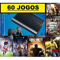 Ps3 Superslim 500 Gb+ 60 Jogos Originais+ Garantia + Hdmi