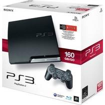 Play 3 Slim - 160gb Com 2 Controles!!! +10 Jogos Top!!!