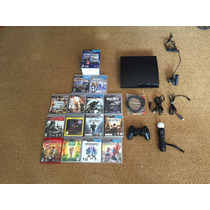 Ps3 Slim 320gb + 1 Controle + Ps Move + Ps Eye + 14 Jogos