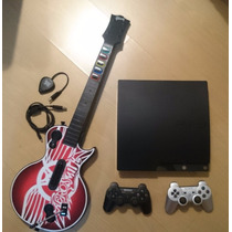 Playstation 3 Slim 120gb, 2 Controles, Guitarra E 5 Jogos
