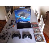 Playsation 3 250gb, 2 Controles, Cabo Av, 3 Jogos Inclusos.