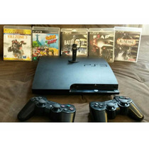 Playstation 3 + 6 Jogos + 2 Controles Sony + Headset+ Frete