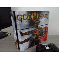 Skin Adesivo P/ Console E Controle Ps4 God Of War + Grips