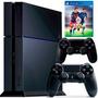 Playstation 4 Ps4 500gb Sony + 2 Controles + Jogo Fifa16