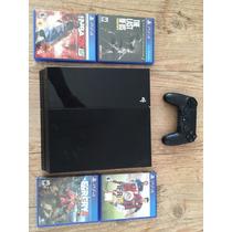 Playstation 4 Ps4 + Hdmi + 500gb + 4 Jogos - Como Novo!