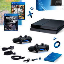 Playstation 4 Jet Black (cuh-115a) + 02 Controles + 02 Jogos