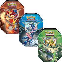 3 Latas Pokémon Kalos Power Chesnaught-ex Greninja-ex Delph