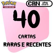 Lote 40 Cartas Pokémon Com Cartas Raras E Recentes