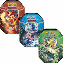 3 Latas Pokémon Kalos Power Chesnaught Greninja Delphox :)