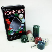 Kit 100 Fichas De Poker Lata Super Luxo Profissional