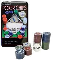 Kit Poker Profissional Em Lata Com 100 Fichas Numeradas