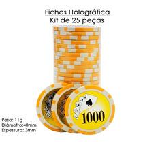 Fichas De Poker Holográfica Kit De 25 Peças Cerâmica