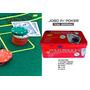 Lata De Poker 200 Fichas Numeradas+ Feltro Verde+ Botões