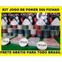 Kit Jogo Poker Texas Holdem 500 Fichas Acessórios Frete Grát