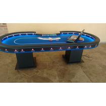 Mesa De Poker_ Borda Alta_ Com Led _ Logotipo E Betline