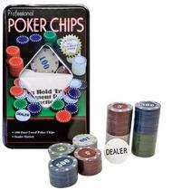 Kit Jogo Poker Profissional Super Luxo Em Lata 100 Fichas