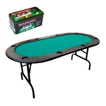 Mesa De Poker + Lata Com 200 Fichas De Poker