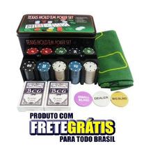 Kit 200 Fichas Poker Numeradas Oficiais + Toalha + Baralho