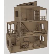 Casa De Boneca 62x52x26 Cm Mobiliada Escala Polly Hdf (mdf)