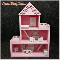 Casa Boneca Mdf Pintado Brinquedo 21 Móveis Miniatura Polly