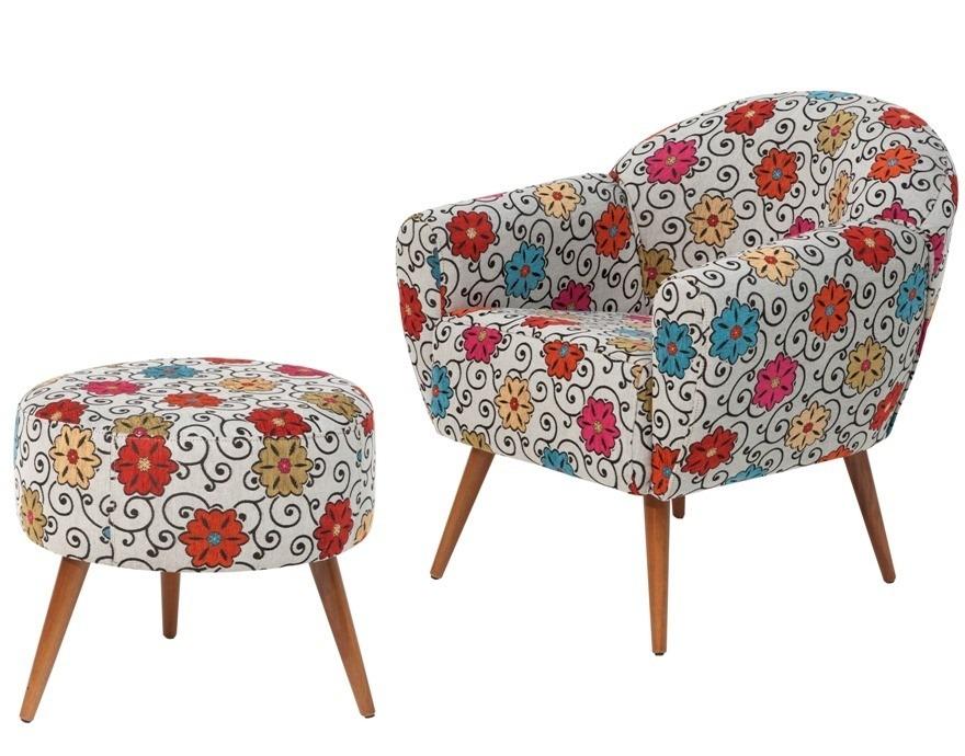 Poltrona com puff sofia decorativa p s palito cadeira sof for Poltrona puffo