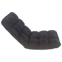 Cadeira Estofada De Chão Suede Preto Fullway