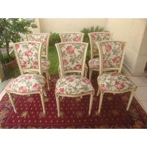 Poltrona Cadeira Coloniais Tecido Floral, Cordão Ouro Velho