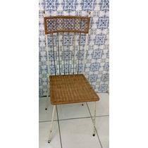 Cadeira Vime E Metal Anos 60 Vintage Antiga