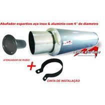 Escapamento Abafador 4 Polegadas Inox C/ Ponteira Esportiva
