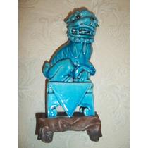 (sergioschw) Antigo Cao De Fo Porcelana Azul Chinesa 24 Cm