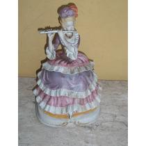 (sergioschw) Dama Flautista Em Biscuit Oriental 27 Cm