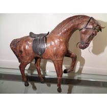 Tck Estatueta De Cavalo Em Couro Peça Antiga De Colecionador