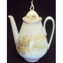 Bule De Chá Decorado Com Folhas Claras - Porcelana Real