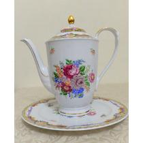 Porcelana Limoges: Bule Chá Prato P/ Bolo Ou Presentoir Ouro