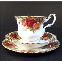 Lindo E Antigo Trio Inglês Royal Albert Country Roses !!