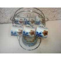 Antigo Conjunto 6 Xicaras Porcelana Vera Cruz Pires E Suport