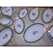Baixela Louça Porcelana Luxo Brennand Ouro Flores Vintage