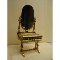 Lindo Porta Joias- Mini Penteadeira -em Bronze - Portugues