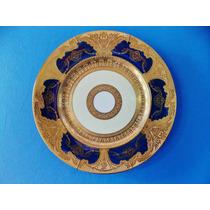 Maravilhoso Clássico Prato Ouro E Cobalto Filigranado Alemão
