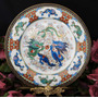 Espetacular Prato Chinês Medalhão Pintado À Mão