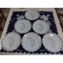 Jogo Com 6 Pratos Rasos Antigos Em Porcelana Real