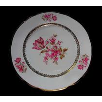 Prato Raso Porcelana Real Motivo Floral Borda Ouro