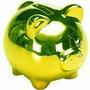 Cofrinho Cofre Porquinho Espelhado Verde Decoração Enfeite