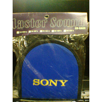 Porta Cd Sony Bordada Courino Para 16 Midias Cor Azul