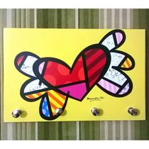Porta Chave Placa Decorativa Romero Britto Pop Art Quadro