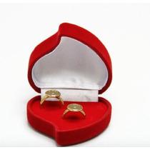 Caixinha De Veludo Em Forma De Coração Para 2 Alianças Anéis