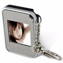 Chaveiro Lcd Mini Porta Retrato Digital 1,5´´ Preto C/ Cromo