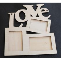 Quadro Porta Retrado Love 3 Fotos Painel